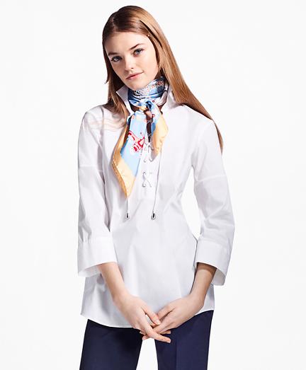 Lace-Up Stretch-Cotton Tunic