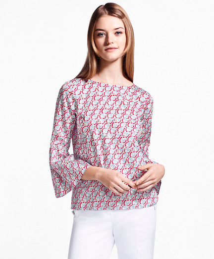 Hula-Dancer-Print Cotton Sateen Blouse