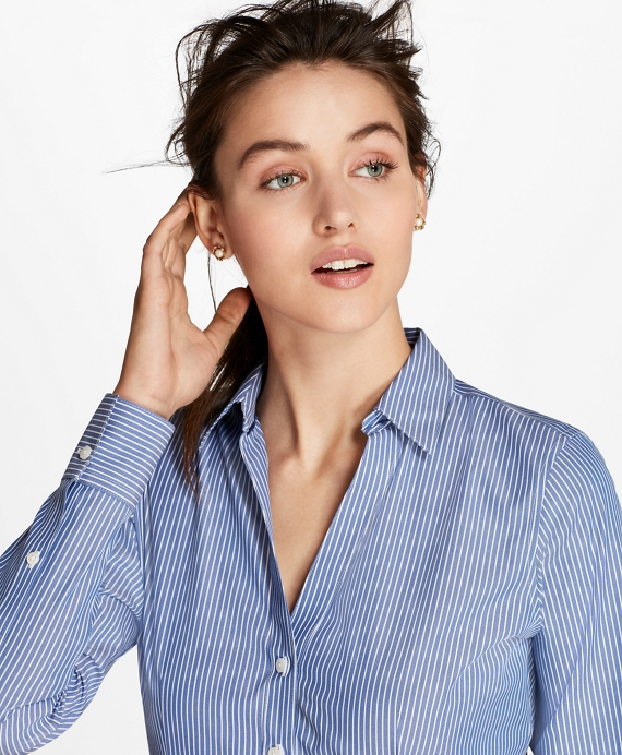 Non-Iron Striped Cotton Poplin Fitted Shirt Blue