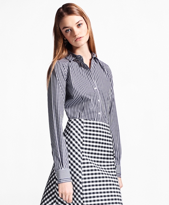 Non-Iron Tailored-Fit Gingham Stretch Cotton Fun Shirt Navy
