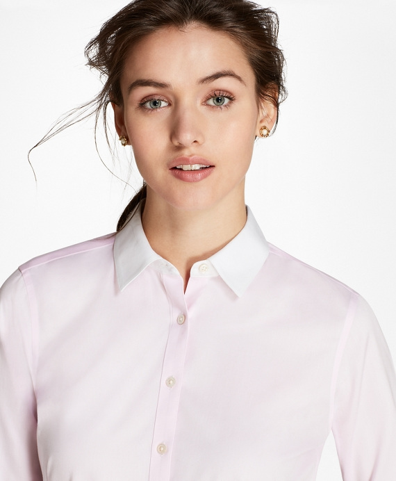 Non-Iron Contrast-Collar Cotton Twill Fitted Shirt Light Pink