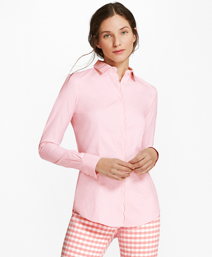 Non-Iron Tailored-Fit Scalloped Stretch-Cotton Shirt