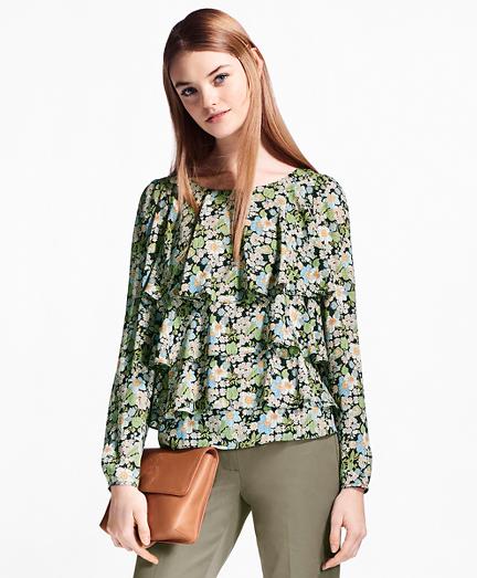 Floral-Print Ruffled Silk Blouse