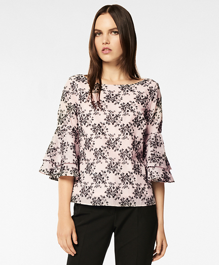 Floral-Embroidered Striped Cotton-Silk Jacquard Blouse