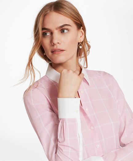 Non-Iron Windowpane Stretch Cotton Poplin Fitted Shirt