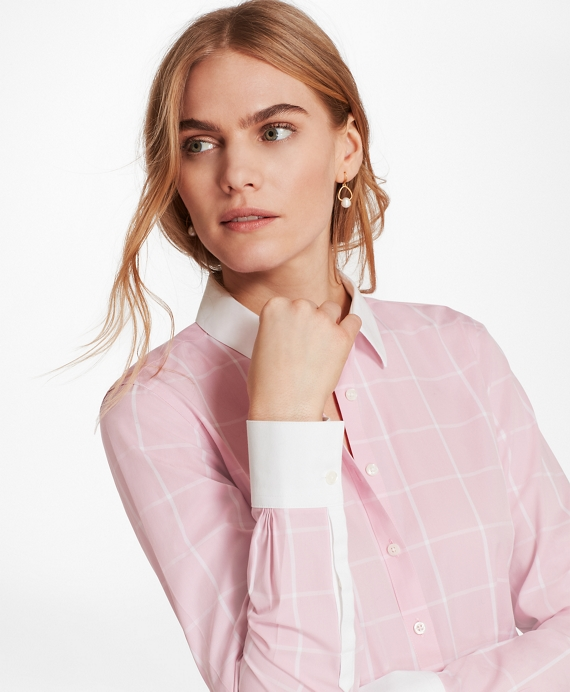 Non-Iron Windowpane Stretch Cotton Poplin Fitted Shirt Light Pink
