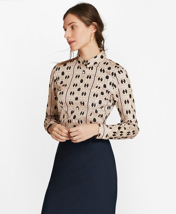 Daisy-Print Cotton Sateen Fitted Shirt Black-Pink