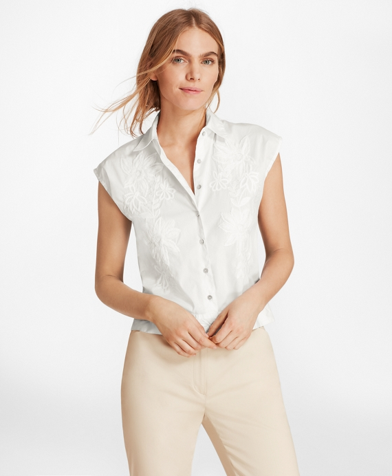 Floral-Embroidered Stretch-Cotton Cropped Shirt White