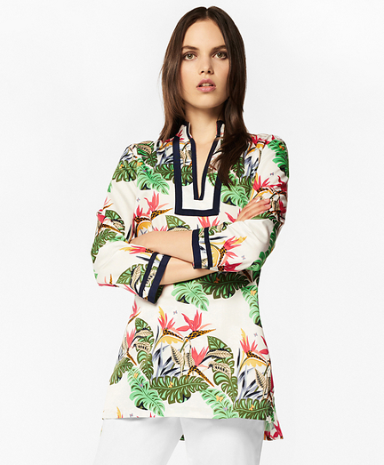 Tropical-Print Cotton Sateen Tunic