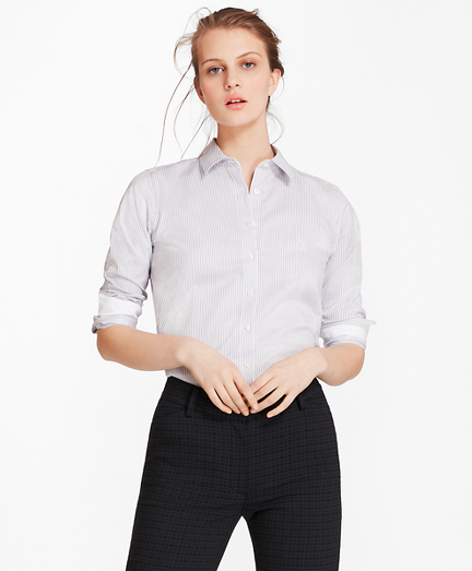 Non-Iron Striped Cotton Twill Shirt