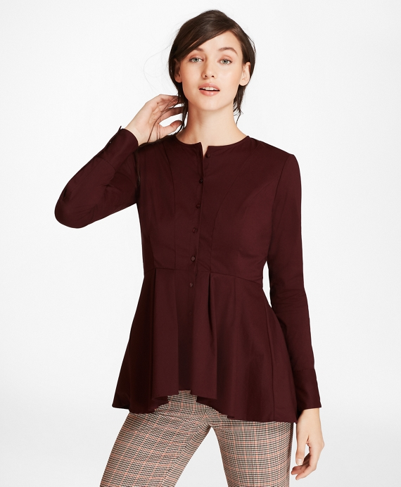 Stretch-Cotton Peplum Blouse Burgundy
