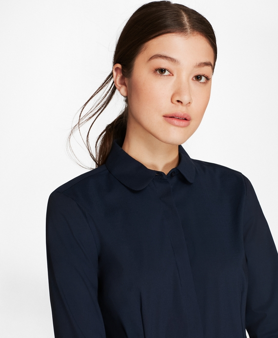 Non-Iron Stretch-Cotton Bishop-Sleeve Blouse Navy