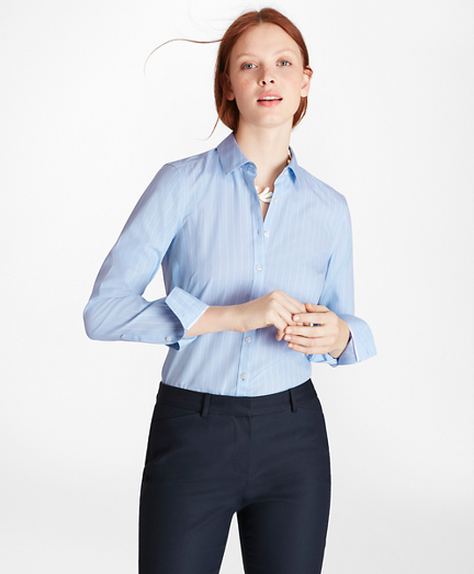 Non-Iron Wide-Striped Stretch-Cotton Poplin Fitted Shirt