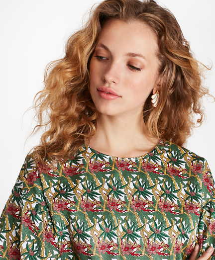 Bamboo-Print Cotton Sateen Top