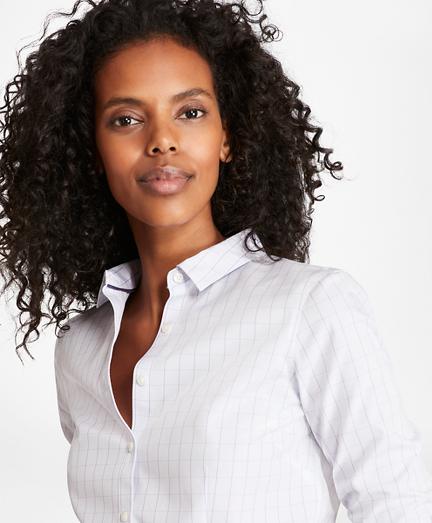 Non-Iron Tailored-Fit Windowpane Stretch-Cotton Poplin Shirt