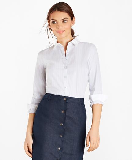 Non-Iron Striped Supima® Cotton Stretch Poplin Fitted Shirt