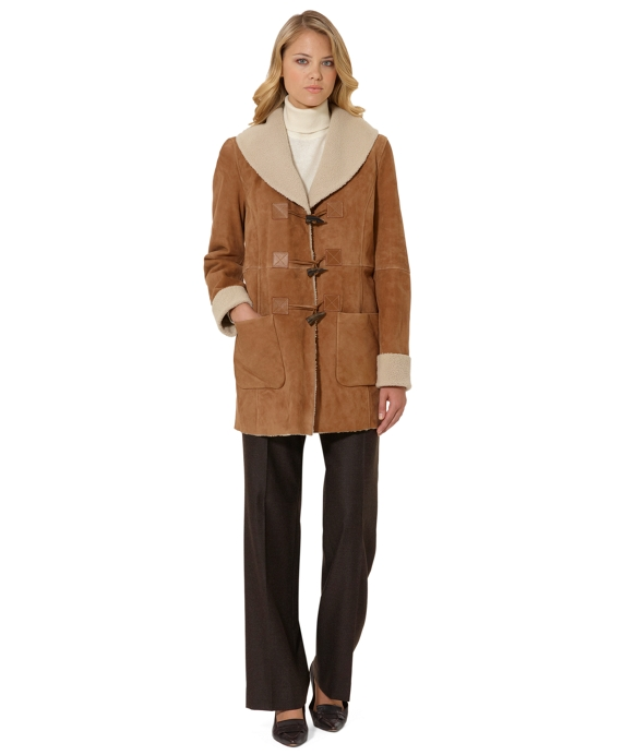 Shearling Toggle Coat Tan