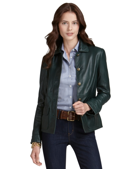 Leather Cropped Jacket Green