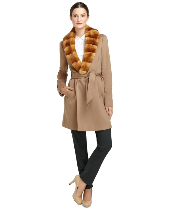 Wool Wrap Coat with Rabbit Fur Camel