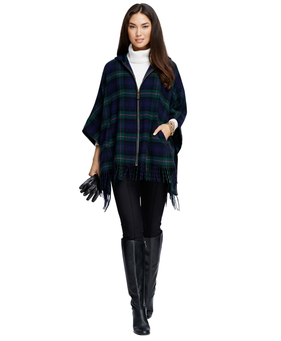 Wool Black Watch Plaid Zip-Front Poncho Navy