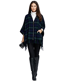 Wool Black Watch Plaid Zip-Front Poncho