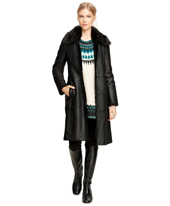 Long Shearling Coat Black