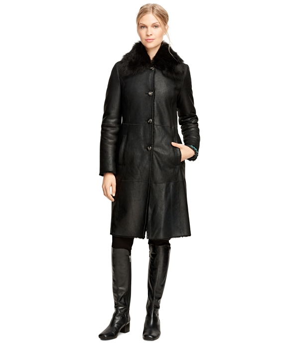 Women's Long Black Shearling Coat | Brooks Brothers