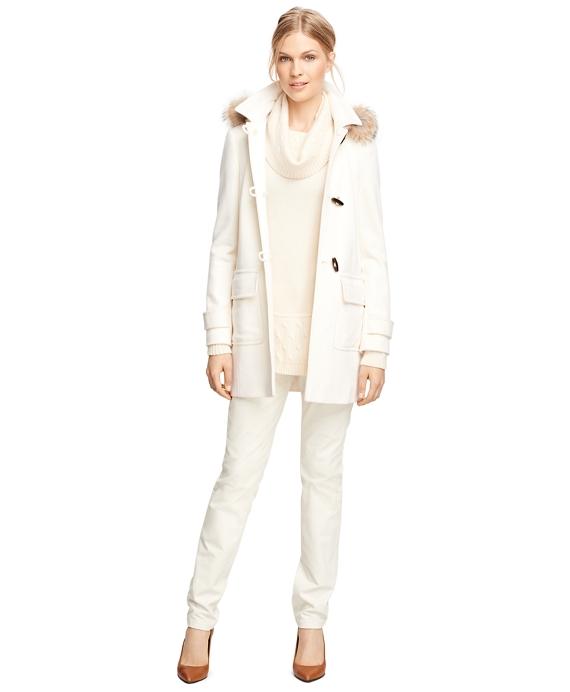Women's Ivory Wool Toggle Coat | Brooks Brothers
