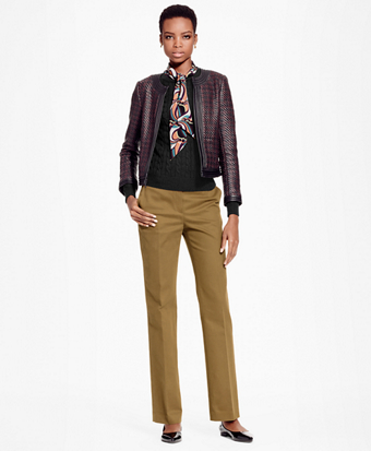 Cropped Leather Houndstooth Jacket