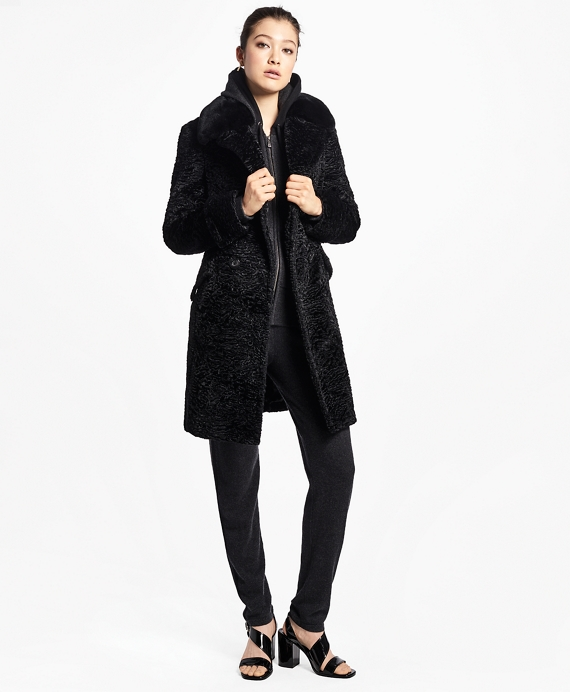 Jacquard Faux Persian Lamb Coat Black