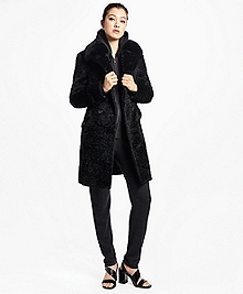 Jacquard Faux Persian Lamb Coat