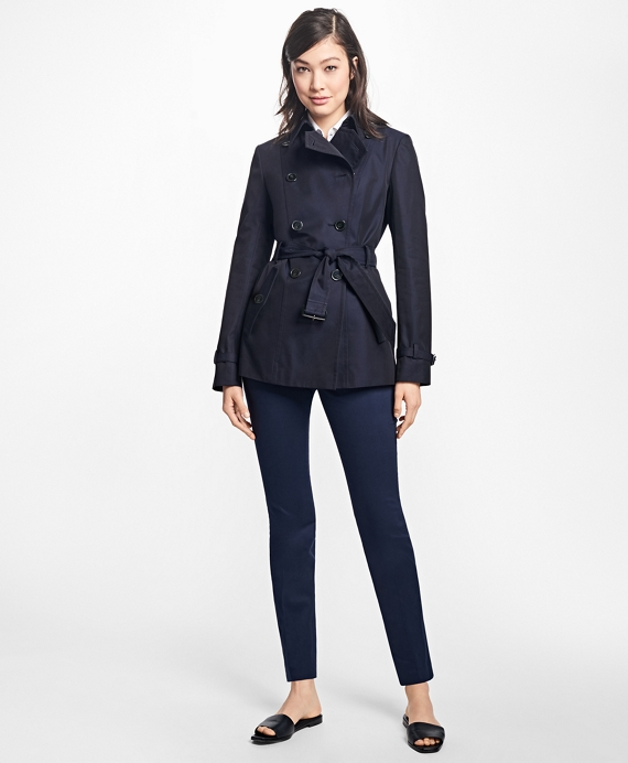 Cotton Twill Double-Breasted Trench Coat Navy
