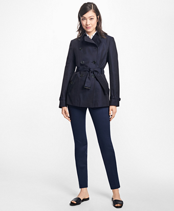 Cotton Twill Double-Breasted Trench Coat