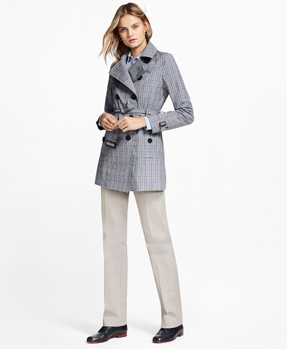 Plaid Stretch Cotton Trench Jacket Blue