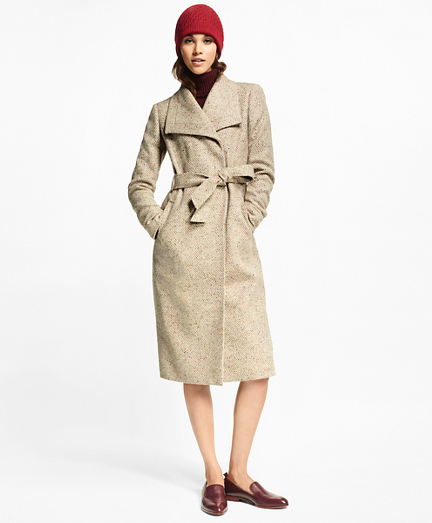 Flecked Herringbone Tweed Coat