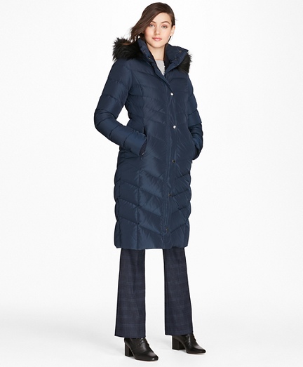 Fur-Trimmed Down Puffer Coat