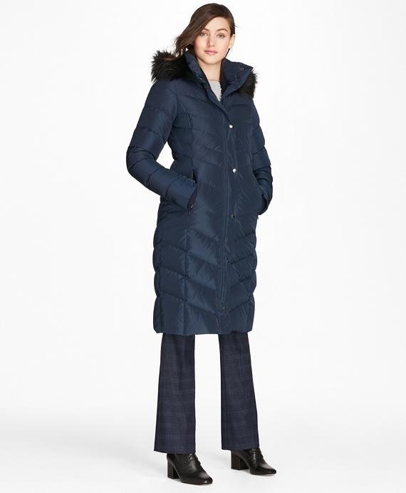 Fur-Trimmed Down Puffer Coat Navy