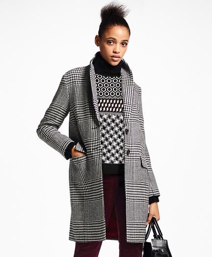 Glen Plaid Wool Cocoon Coat