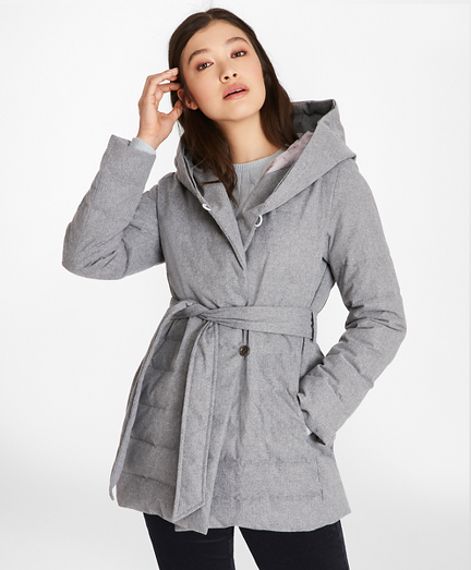 Flannel Down-Filled Wrap Coat