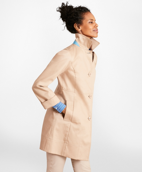 Water-Repellent Cotton Twill Swing Coat Tan