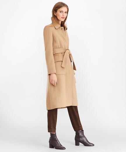 Brushed Wool Twill Wrap Coat