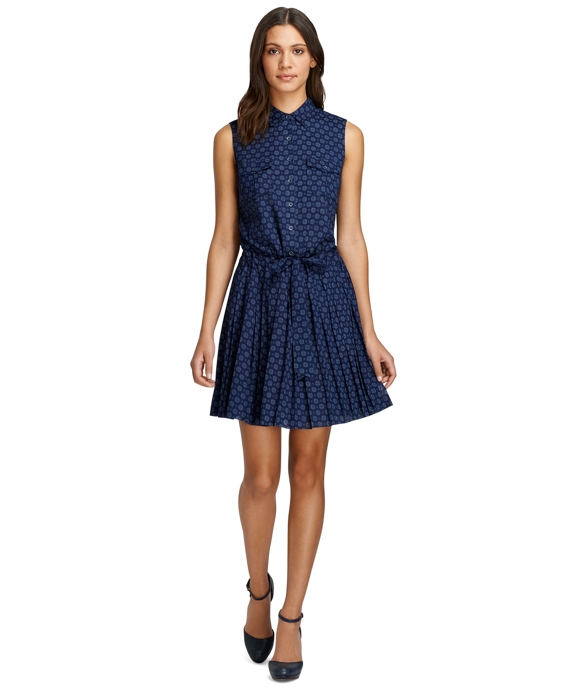 Sleeveless Medallion Print Dress Navy
