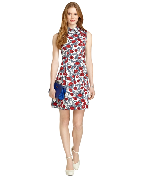 Sleeveless Poppy Print Dress Red Multi