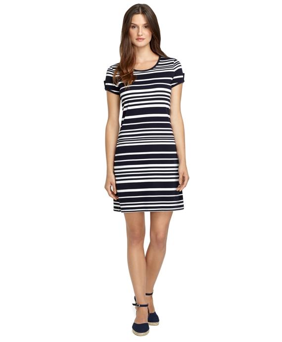 Stripe Keyhole Sleeve Dress Navy