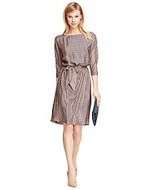 Silk Three-Quarter Sleeve Dress
