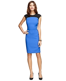 Wool Color-Block Cap Sleeve Dress