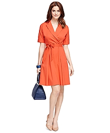 Cotton Blend Short-Sleeve Dress