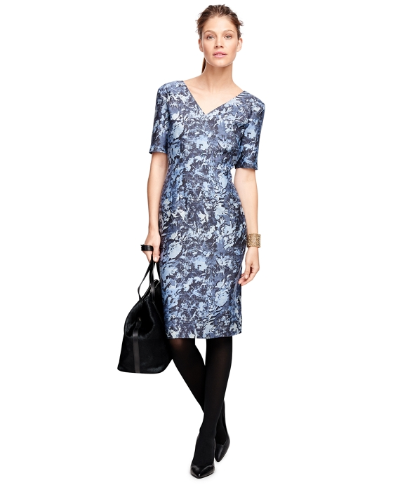 Silk and Wool Floral Print Dress Multi