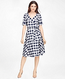 Cotton Check Wrap Dress