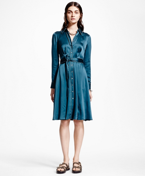 Silk Charmeuse Shirt Dress